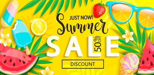Sale banner with symbols for summer time such as ice cream,watermelon, strawberries,sunglasses,lemon.Vector illustration of discount template card, wallpaper,flyer, invitation, poster,brochure,voucher