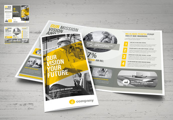 Yellow and Gray Trifold Brochure Layout