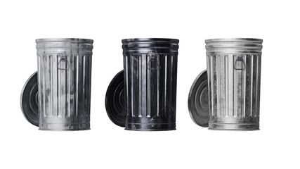 Trash can metal, isolated white background, front view. 3D rendering