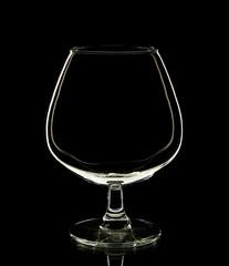 Empty glass wine on black background.