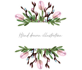 banner or invitation watercolor flowers spring