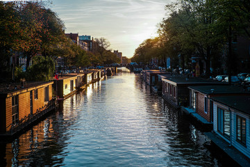 Canal homes at sunset