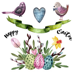 Watercolor drawn set with elements of happy easter
