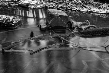 Flowing Water, long exposure, black and white, art