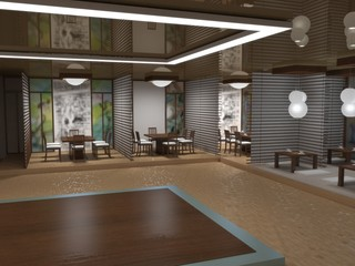 chinese restaurant, sushi bar, interior visualization, 3D illustration