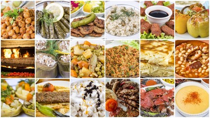 Traditional delicious Turkish foods various collage concept photo.