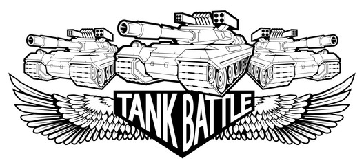battle tank logo in black and white, vector graphics to design