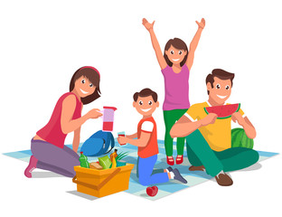 happy family on a picnic, design element, vector graphics to design