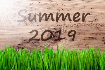 Bright Sunny Wooden Background, Grass, Text Summer 2019