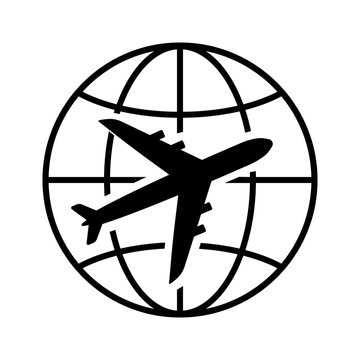 Air travel icon. Airplane and globe representing passenger or cargo transportation or long-distance travel. Vector Illustration