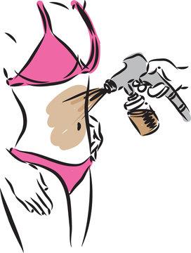 woman tanning airbrush illustration