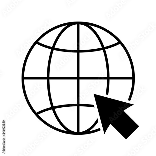 Internet Or World Wide Web Icon Globe And Cursor Representing