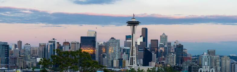 Seattle skyline panorama at summer evening, sunset