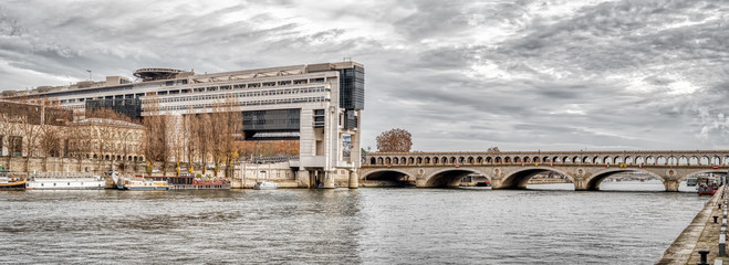Panoramic of French ministry of finance an Pont de Bercy - Paris, France