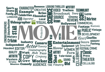 Movie Word Clouds On White Background