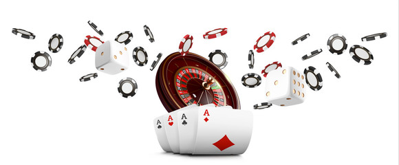 Playing cards and poker chips fly casino wide banner. Casino roulette concept on white background. Poker casino vector illustration. Realistic Casino design. Gambling poker template.