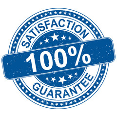 satisfaction guarantee round blue rubber stamp grungy illustration