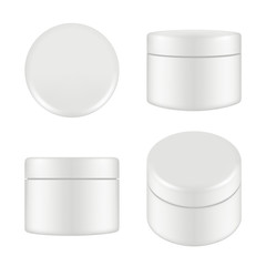 Obraz Cosmetic package. Rounded cleaning cream plastic tube box container top and side view vector mockup isolated. Illustration of container cream, plastic box round - fototapety do salonu