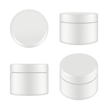 Cosmetic package. Rounded cleaning cream plastic tube box container top and side view vector mockup isolated. Illustration of container cream, plastic box round