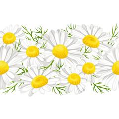 Daisies flowers horizontal seamless pattern. Vector illustration of daisy garland, chamomile border, frame isolated on white background. Cartoon, flat style.