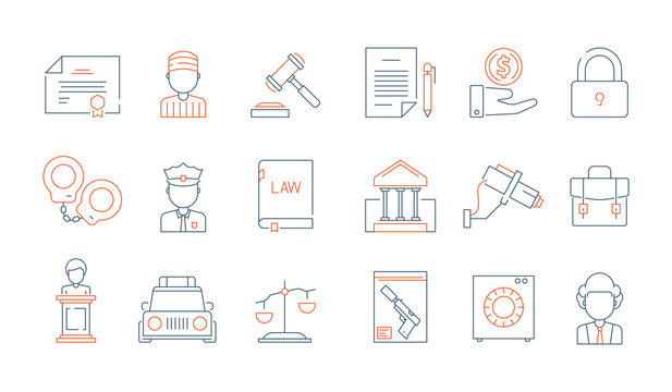Law thin symbols. Licence accounting legal justice lawyer vector linear colored icon collection. Illustration of legal justice, court and lawyer
