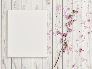 Mock up poster with rose flower decoration on white wooden floor, 3d render, 3d illustration