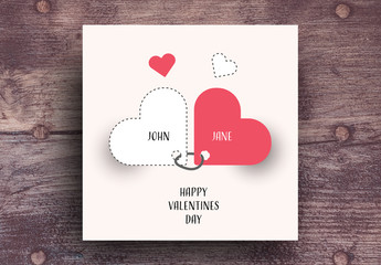 Valentine's Day Card with Red Accents
