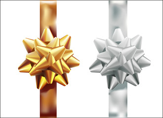 Golden, silver gift bow set vertical ribbon. Isolated on white background. Vector illustration. Christmas, New Year, birthday gold decoration. Banner, greeting card, poster.