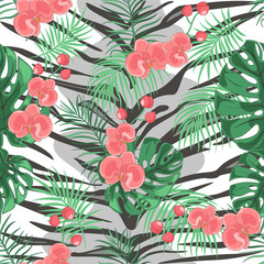 Seamless print of animal skin tiger and tropical plants. Seamless pattern painted by hand. Hand-drawing of animal skin and tropical plants. Vector illustration.
