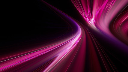 Abstract purple on black background texture. Dynamic curves ands blurs pattern. Detailed fractal graphics. Science and technology concept. Fototapete