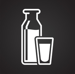 Milk icon on black background for graphic and web design, Modern simple vector sign. Internet concept. Trendy symbol for website design web button or mobile app