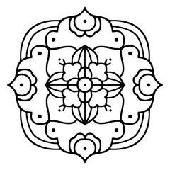 Hand drawn mandala design element.