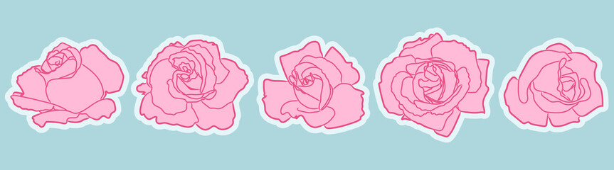 Rose flowers patch set