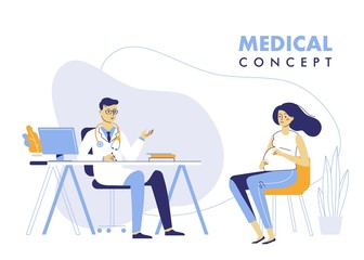 Medicine concept with doctor and pregnant woman. Practitioner doctor man and young pregnant woman patient in hospital medical office. Consultation and diagnosis.