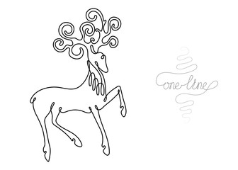 Continuous one line art drawing deer animal