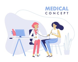 Medicine concept with practitioner doctor woman and young pregnant girl patient in hospital medical office. Doctor doing medical examination of pregnant with stethoscope. Consultation and diagnosis.