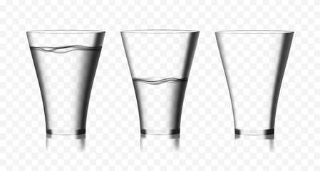 Two transparent vector glasses of pure water and one empty glass