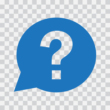 Question mark sign in blue speech balloon. Help icon on transparent background. Vector illustration