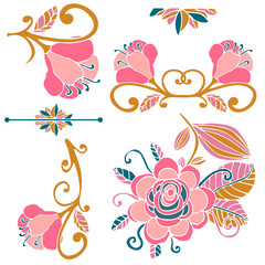 Colorful floral collection of pink, green, gold cute design elements. Paradise fantasy flowers with curls, leaves isolated on white. Tropical doodle floral divider, border, frame. Vector illustration.