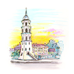 Gediminas Bell Tower in Vilnius, Lithuania