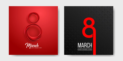 Banner for the International Womens Day. Sale banner, discount card. March 8 on the dark, black and red background. Vector illustration Wall mural