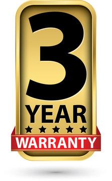 3 year warranty golden label, vector illustration
