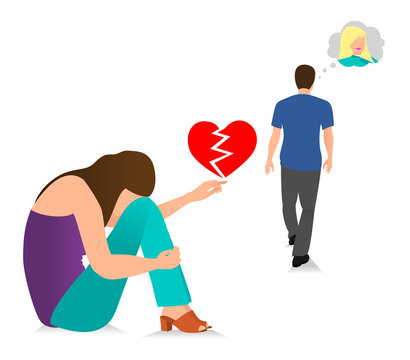 The Guy Leaves The Young Girl. Vector illustration concept of bad relationship, failed marriage, broken heart, cheating, depressed girl and etc.