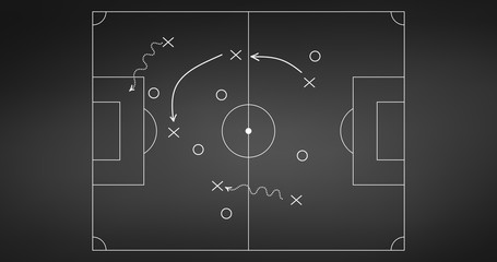 Football or soccer game strategy plan isolated on blackboard background. Sport element. Vector illustration isolated on white background.