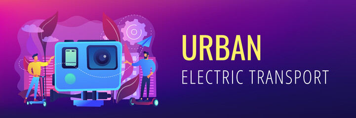 Businessmen riding electric scooter and skateboard in city. Urban electric transport, e-scooter e-skateboard using, modern citylife style concept. Header or footer banner template with copy space.