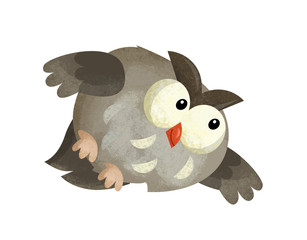 cartoon scene with owl animal on white background - illustration for children