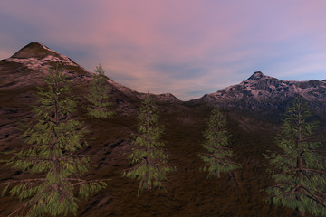 Mountain, a natural landscape, coniferous trees, grass on the ground, rocks and pink clouds in the sky.