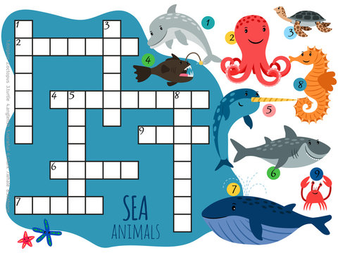 Vector sea animals crossword template with cartoon characters. Illustration of