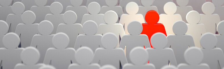Stand out from the crowd and different creative idea concepts, man standing out of crowd - 3d rendering