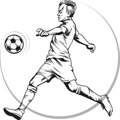 Vector illustration, sketch football or soccer player in action